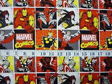 Marvel Comics Comic Blocks Red Cotton Quilting Fabric 1/2 YARD