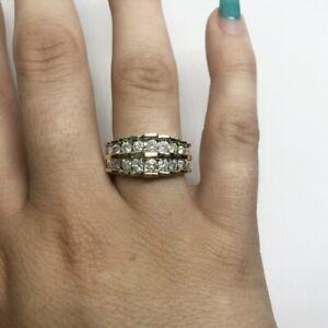 ELEGANT 10k Yellow Gold NATURAL Diamond PYRAMID Ring-- Size 6