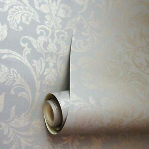 Holden Decor Glistening Floral Damask Metallic Rose Gold Grey Wallpaper 12712