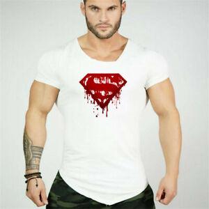 Men's Fitness Cotton Superman Irregular Short Sleeves T Shirts Sport Gym Clothes