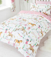 GIRLS PONY HORSE SHOW JUMPING PINK FLORAL REVERSE DOUBLE BED DUVET COVER SET