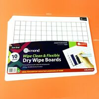 10 X Dry Wipe Boards School Kids Teacher Grid Square Graph Sum Maths Sheets Pack