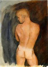 Painting NUDE male VAN'S BACK 1/27/50  rear #ArtofEsteban Signed FREE SHIP