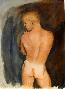 VAN'S BACK Painting male nude rear Signed FREE SHIP Esteban 1/30/50