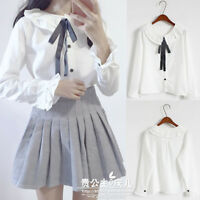 Japanese Preppy Style Ribbon Bowknot Lolita Cape collar White Shirt Blouse Tops