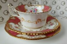 More details for coalport ''maroon batwing'' tea cup, saucer and side plate (trio) a/f