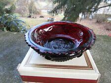 "NIB Vintage AVON Red Ruby Glass Cape Cod Dessert Bowl ~ 5 3/8"" W"