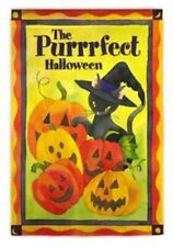 "New listing House Flag Premium Artwork Happy Purrrfect Halloween Fall 29"" x43"" Cats Durable"