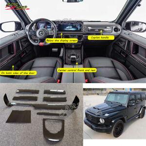 For Mercedes Benz W464 G63 8 pcs Dry Carbon Fiber Interior Dashboard Door Trim