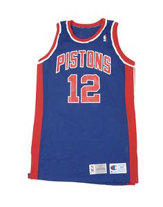 Vtg Champion NBA Detroit Pistons David Wood Player Issued Jersey 93/94 Blue 44
