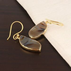 Brilliant Quality Natural Agate Slice Yellow Gold Plated Drop Dangle Earrings