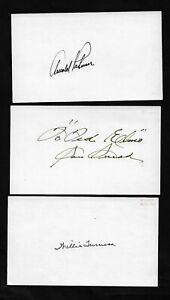 3 Signed Golf Legends 3X5 cards - ARNOLD PALMER - SAM SNEAD _ WILLIE TURNESA