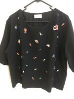 MEGAN PARK Beaded Black Top With Lining, As New, Sz 3 ( 12) , RRP $450