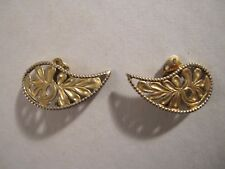 Vintage Vermeil Sterling Paisley Olive Leaves Climber Clip Earrings London RARE!
