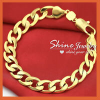 24K GOLD GF CHUNKY CURB RINGS LINKS MENS WOMENS SOLID CHAIN BANGLE BRACELET 22CM