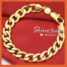 24K GOLD GF CHUNKY CURB RINGS LINKS MENS WOMENS SOLID CHAIN BANGLE BRACELET 22CM