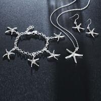Silver 925 Fashion wedding Women charms earring necklace Bracelet set jewelry