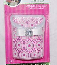 NEW LOCKER LOOKZ COOL  PINK GLITTER BIN FOR YOUR SCHOOL LOCKER ~ PINK FLORAL