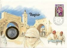 superbe enveloppe TUNISIE TUNISIA pièce monnaie 5 Dinars 1983 NEUF UNC NEW timb