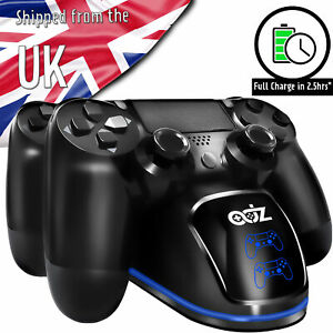 PS4 Dual Controller Fast Charger Charging Dock Station Stand With LED Halo Ring