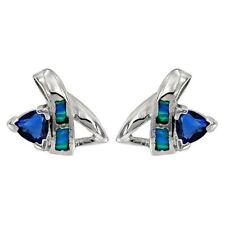Sapphire & Australian Opal Inlay 925 Sterling Silver Earrings Jewelry, OP1