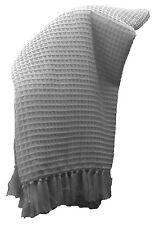 Charcoal Waffle Weave Throw Rug Blanket 100% Cotton 127x 152 cm