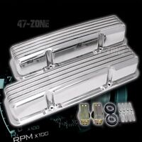 ALUMINUM 58-86 CHEVY SB 283-400 TALL VALVE COVERS FINNED - POLISHED (W/O HOLES)