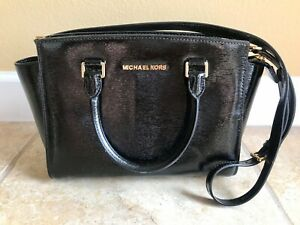Michael Kors Selma Medium Top Zip Satchel Purse - Black