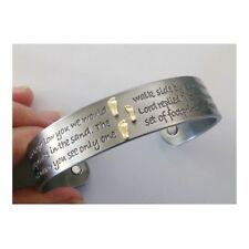 Silver FOOTPRINTS Quote Magnetic Copper BANGLE Arthritis Magnet Therapy BRACELET