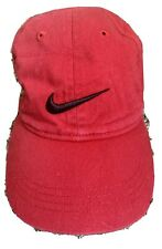 Red Nike Baseball Hat With Black Check Boys Size 4-7