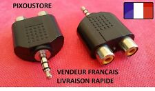 ADAPTATEUR AUDIO 2 RCA FEMELLE STEREO VERS JACK 3.5MM STEREO