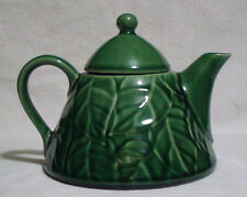 Lovely Pier 1 Jade Leaves Stoneware Teapot Tea Coffee Pot Green Leaf with Lid