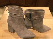 Vince Camuto Salali Suede Leather Block Heel Ankle Boots Women's 8 M Taupe 8M