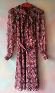 Vintage 70s 80s Ditsy floral prairie tea midi dress 40s M 12 14