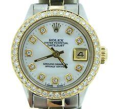 Rolex Datejust Ladies 14K Gold & Steel Watch White MOP Diamond Dial & 1ct Bezel