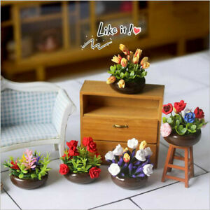 1/12 Dollhouse Miniature Multicolor Potted plant Flower With Pot Garden de^KN