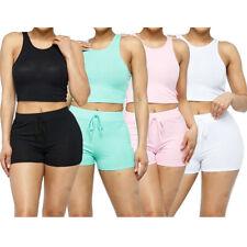 Para mujeres Camiseta sin mangas & Pantalones cortos informales de la alta cintura Loungewear con cordón Pantalones Cortos Set