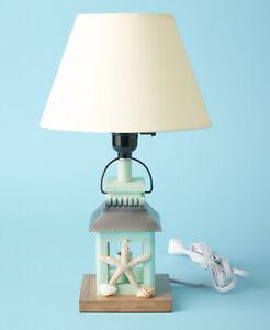 "Coastal Marine Nautical Lantern Starfish Beach House Electric Table Lamp 17"""