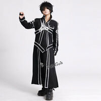 Sword Art Online Kazuto Kirigaya Kirito Cosplay Costume Black Coat Clothes