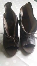 Bertie open toe leather boots size 6 (39) worn once dark grey