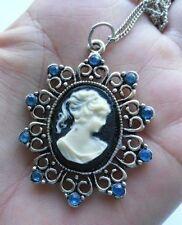 collier pendentif vintage camée collection couleur argent cameo pendant * 3861
