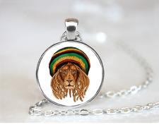 Rasta Lion Wearing Glasses PENDANT NECKLACE Chain Glass Tibet Silver Jewellery