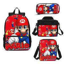 Super Mario Game School Backpack Leakproof Lunch Bag Pen Case Shoulder Bag Lot