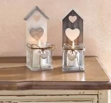 2 x Windlicht Kerzenhalter Holz Teelichthalter Laterne Landhaus Kerzenständer