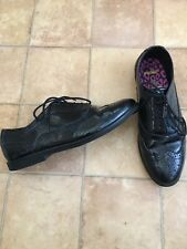 Clarks Black Patent Leather Ladies Brogues, Size 6.5F, Very Good Condition
