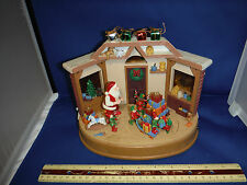 Enesco Style Santa's Workshop Multi-Action/Lights 8 Tune Music Box