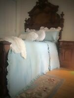 Vintage Blue Chic Shabby Country Ruffle King Bed Quilt Coverlet Bedspread Set