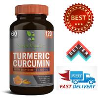 TURMERIC CURCUMIN with BioPerine 1500 mg Joint Pain Relief Antioxidant 120 Caps