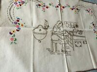 Beautiful Vintage Hand-Embroidered Linen Tapestry