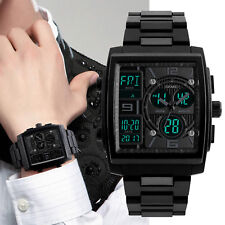 Large Square Men's Military Sports Analog Digital Outdoor Waterproof Wrist Watch